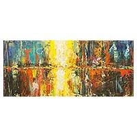 'Sunset Overnight' - Original Abstract Acrylic Painting of Cityscape on Canvas