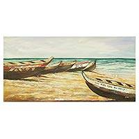 'Tuesday Fishing' - Signed Acrylic Painting on Canvas of Seascape with Canoes