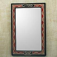 Wood wall mirror, 'Akofena I' - Hand Crafted Red and Black Wood Wall Mirror from Ghana