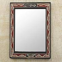 Wood wall mirror, 'Akofena II' - Handmade Red and Black Wood Wall Mirror from West Africa