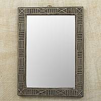 Wood wall mirror, 'Ohemaa' - Hand Crafted Wood Wall Mirror from Ghana