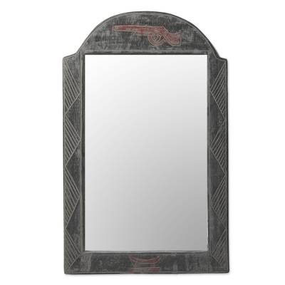Artisan Crafted Sese Wood Wall Mirror from Ghana