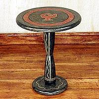 Wood accent table,'Sankofa' - Hand Crafted Round Wood Accent Table from Ghana