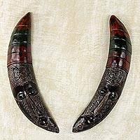 African wood masks, 'Nkonsonkonson Moons' (pair) - 2 African Wall Mask Crescent Moons with Adinkra Symbol Set