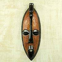 African wood mask, 'Borre' - Original African Rain Wood Mask Hand Crafted in Ghana