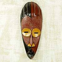 African wood mask, 'Dare Da Raana' - Original Light and Shadow African Wall Mask Artisan Crafted