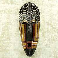 African wood mask, 'Fito' - Whistling African Wall Mask Artisan Crafted Wall Decor
