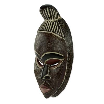 African wood mask, 'Beautiful Akan Woman' - Artisan Hand Carved Authentic African Mask