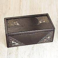 Wood decorative box, 'Sika Korkoo Kwarbia I' - Hand-Carved Wood West African Box with Aluminum Trim