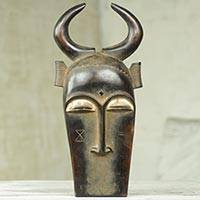 African wood mask, 'Bemba Healer' - African Bemba Healer Wall Mask Zoomorphic Man from Ghana