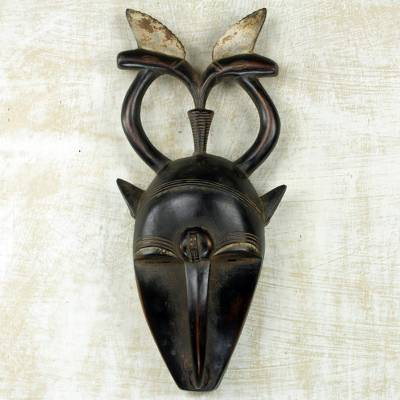 African wood mask, 'Yaure II' - African Ceremonial Yohure Mask Hand Carved Wood Art