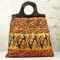 Cotton batik and leather accent handbag, 'Heavenly Sunrise' - Handmade Orange and Brown Cotton Batik Handle Bag from Ghana