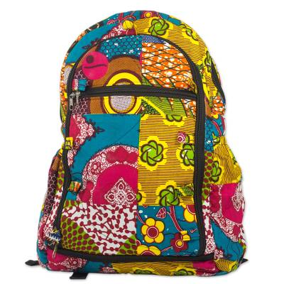 Multicolor Cotton Batik Patterned Backpack from Ghana