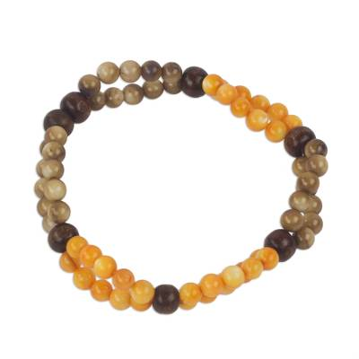 Handmade Agate and Wood Stretch Bracelet from Ghana
