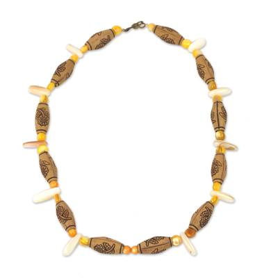 Agate Necklace with Recycled Beads Handcrafted in Ghana