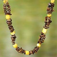 Agate and tiger's eye beaded necklace, 'Autumn Colors' - Hand Crafted Agate and Tiger's Eye Beaded Necklace