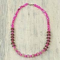 Agate beaded necklace, 'Summer Sweet' - Hand Strung Agate and Recycled Glass Bead Necklace