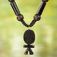 Agate and wood beaded pendant necklace, 'Tsoobi' - Hand Crafted Beaded Necklace with Ebony Wood Doll Pendant