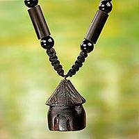 Agate and ebony wood beaded pendant necklace, 'Little Hut' - Artisan Crafted Agate and Wood Beaded Pendant Necklace