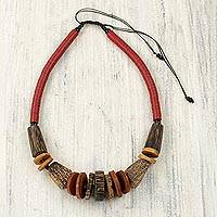 Agate and wood beaded necklace, 'Tugbegye I' - Hand Crafted Agate and Wood Beaded Necklace