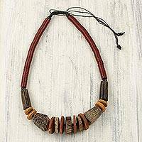 Agate and wood beaded necklace, 'Tugbegye II' - Artisan Crafted Agate and Wood Beaded Necklace