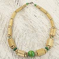Bamboo and wood beaded necklace, 'Rustic Beauty in Green' - Hand Crafted Bamboo and Sese Wood Beaded Necklace from Ghana