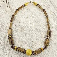 Bamboo and wood beaded necklace, 'Rustic Beauty in Yellow' - Handmade Ghanaian Sese Wood and Bamboo Beaded Necklace