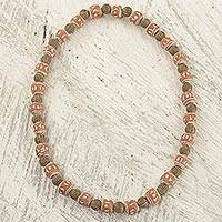 Terracotta beaded necklace, 'Rustic Sika' - Terracotta and Recycled Plastic Beaded Necklace from Ghana