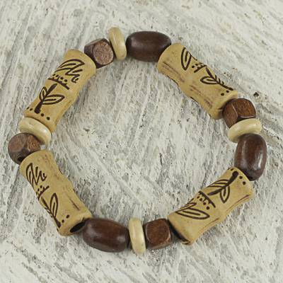 Wood and plastic beaded stretch bracelet, 'Rustic Harmony' - Handmade Wood and Recycled Plastic African Bracelet