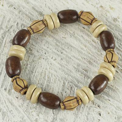 Wood and recycled plastic beaded stretch bracelet, 'Wuoezor' - Ghanaian Handmade Wood and Plastic Beaded Stretch Bracelet
