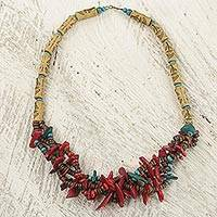 Wood and bamboo beaded necklace, 'Aseda Leaves' - Wood Bamboo and Recycled Plastic Beaded Necklace from Ghana