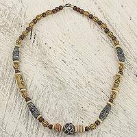 Wood and ceramic beaded necklace, 'Rustic Victory' - Wood and Recycled Plastic Bead Necklace from Ghana