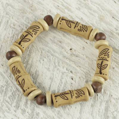 Wood beaded stretch bracelet, 'Never Forget' - Sese Wood Recycled Plastic Bottle Stretch Bracelet