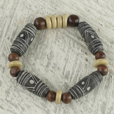 Wood and ceramic beaded bracelet, 'African Woman' - Brown Earth Tone Beaded Stretch Bracelet by Ghana Artisan
