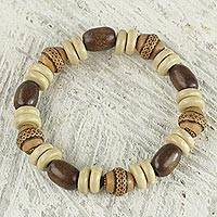 Wood and ceramic beaded bracelet, 'Feminine Beauty' - Sese Wood and Terracotta Hand Made Ghanaian Beaded Bracelet