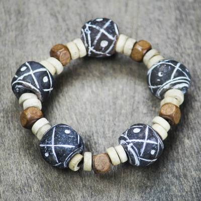 Terracotta beaded stretch bracelet, Dreams at Dusk