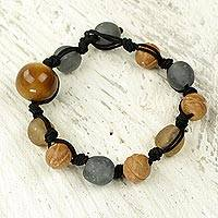 Ceramic and bull horn beaded bracelet, 'Love Subtleties' - Grey Brown Beaded Bracelet with Bull Horn and Terracotta