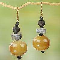 Bull horn and ceramic beaded earrings, 'Surprise and Give Thanks' - Beaded Hook Earrings with Bull Horn Wood and Ceramic