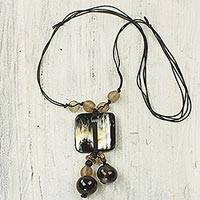 Bull horn pendant necklace, 'Gift of Life III' - Artisan Crafted Necklace with Bull Horn and Recycled Glass