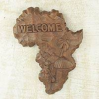 Wood welcome sign, 'Our African Continent' - Artisan Hand-Carved African Map Welcome Sign