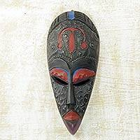 African wood mask, 'Agawore' - Hand Carved Wood and Aluminum African Mask in Black and Red
