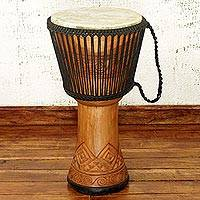 Wood djembe drum, 'Perpetual Life' - Artisan Crafted West African Wood Djembe Drum
