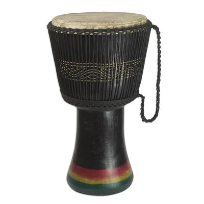 Handmade African Tweneboa Wood Djembe Goatskin Drum Black