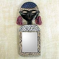 Wall mirror, 'Beautiful Woman' - African Mask on Handcrafted Wall Mirror