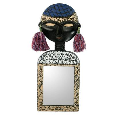 African Mask on Handcrafted Wall Mirror
