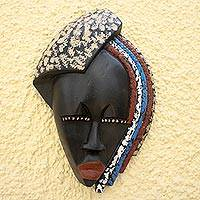African wood mask, 'King's Child' - Hand-Carved African Tweneboa Wood Wall Mask of Woman