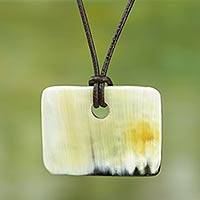 Rectangular bull horn pendant necklace, 'Breeze' - Rectangle Bull Horn Pendant Necklace with Leather Cord