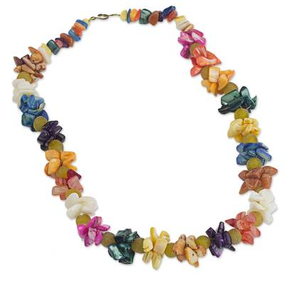 Agate Recycled Glass Beaded Necklace from West Africa