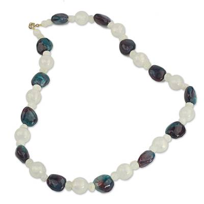Agate Recycled Plastic Beaded Necklace from West Africa