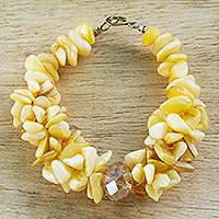 Agate beaded bracelet, 'Earthly Treasure' - Yellow Agate Glass Beaded Bracelet from West Africa